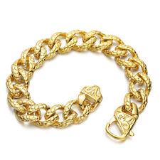 Chain Bracelet Bangle For Cool Men 13mm 18K Gold 316L Stainless Steel Curb Link