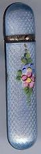 VINTAGE STERLING SILVER BLUE & PINK ENAMEL FLOWER LIP STICK HOLDER