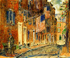 Acorn Street Boston American Flags Impressionism By Childe Hassam Repro FREE S/H