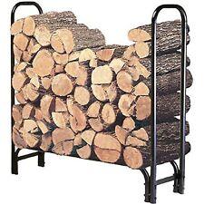 4 Foot Firewood Log Rack Heavy Duty Steel Outdoor Storage Black Wood Holder New