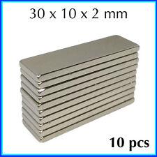 10 pcs 30 x 10 x 2 mm N35 Super Strong Powerful Cuboid Block MAGNET Craft Model