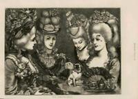 1873 - Antique Print FINE ART Our Grandmothers Ladies Dog Hairstyles  ( 026)