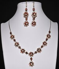 925 Sterling Silber Halskette & Ohrringe, Weißgold beschichtet, Orange Garnet