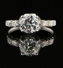925 Sterling Silver Amazing Round Shape 2.35Ct Solitaire With Accents Ring