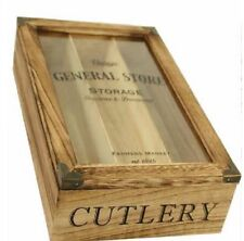 WOODEN 3 COMPARTMENT VINTAGE CUTLERY BOX TRAY RUSTIC NATURAL STORAGE ORGANIZER