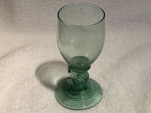 "Antique late 17thC c1670 Dutch Roemer wine glass beaker 5.25"" raspberry prunts"