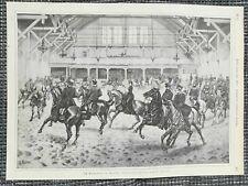 Im Tattersall in Berlin Morgenausritt Pferde Reiter HOLZSTICH von 1885