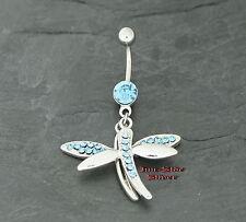 Bauchnabel Piercing LIBELLE Dragonfly AQUA Kristall