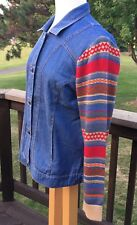 Norm Thompson Womens Blue Jean Jacket Sz M Knit Artsy Print Sleeves Button Front