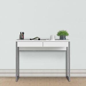Glossy White Modern Home Office Desk.Scandinavian Design.2 Drawers.Metal Legs