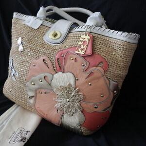 NEW COACH Hampton Floral Dragonfly Straw Beach XL Weekend Tote Shoulder Bag $698