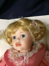 Porcelain Doll LP3390 The Leonardo Collection Pink Dress On Pillow With Teddy