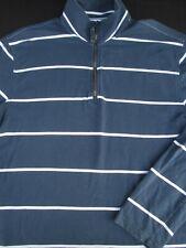 Nautica Mens 1/2 Zip Front Long Sleeve Cotton Blue White Stripe Sweater Medium M