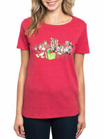 Disney Women's Mickey Mouse & Friends Christmas T-Shirt Red Minnie Donald Daisy