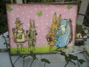 Holzpostkarte Postkarte Häschenschule Mutter + Kinder Nostalgie