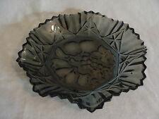 """Vintage Federal Glass Pioneer Intaglio Smoked Serving Dish Bowl Platter, 11"""""""