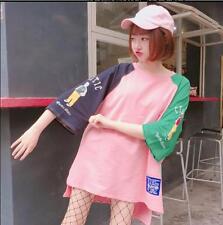 1pc Summer Women's South Korea Harajuku BF Style Loose Color Matching T-shirt