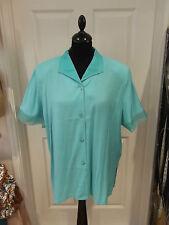 Size 20 Turquoise Blouse by ELVI NWT Short Sleeve Shirt Beaded Collar/Sleeve Hem