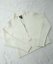 WOOLRICH PULLOVER HALF ZIP CROP SWEATER IVORY WOMENS RAMIE COTTON SMALL