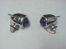 Zeppelin Marker Running Lights Blue Lens *Set of 2* Chopper Bobber Custom (B)