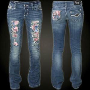 AFFLICTION Women's Denim Jeans JADE BRYNN PATRIOT Embroidered  Biker MMA