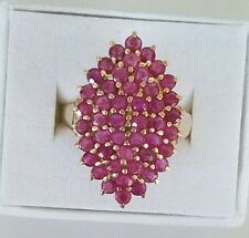 HUGE Vintage 4.6 Carat Natural Ruby Ring Set In 10k Yellow Gold Size 9.25