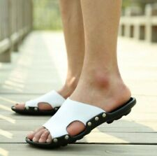 Mens Leather Flats Slip On Summer Slippers Outdoor Open Toe Slides Sandals Shoes