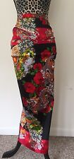 Dolce Gabbana Silk Skirt NWT *GORGEOUS* RARE Floral Red Black w/Blue Dragons 40