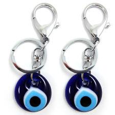 2 Blue Evil Eye Glass Keychain Ring Nazar Hamsa Good Lucky Charm Amulet Gift New