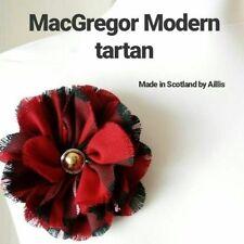 MacGregor Red Tartan Scottish Brooch fabric flower Scottish gift accessory