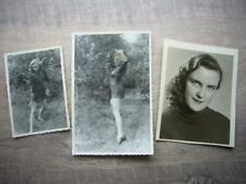 12) 3 x Foto HÜBSCHES Mädel, junge Frau, kurzes Kleid, Yoga, Gymnastik nude