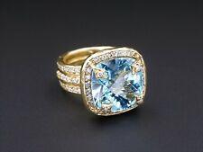 SeidenGang 18k Gold 16 Carat Natural Topaz Diamond Halo Ring Sz 6.75 RG2326