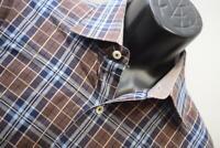 37099 Mens Bugatchi Uomo Classic Fit Plaid Button Up Dress Shirt Size Large