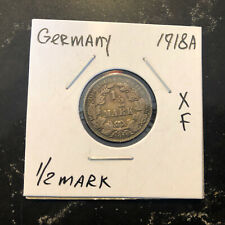 1918 A Germany 1/2 Mark Toned Nice Coin silver