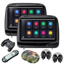 "9"" Black HD Car Headrest Digital Monitor DVD Player Pillow USB FM +IR Headphones"