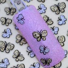 Pegatinas Calcomanía 3D Arte de Uñas Puntas Rueda Manicura Mariposa Dorada Plata