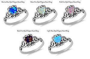 Filigree Celtic Fire Opal Heart Birthstone Sterling Silver Ring