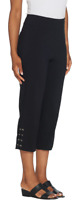 Joan Rivers Petite Plus 1X Pull On Cropped Pants with Lace Up Detail Black P1X