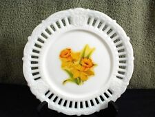 "VINTAGE WHITE MILK GLASS 7"" ROUND PLATE WITH YELLOW FLOWERS RAISED PATTERN SLOTS"