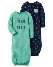 New Carter's 2 Pack Sleep Bag Or Gown size Newborn NWT Gowns Rocket Space Boys