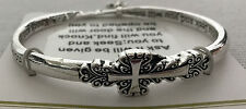 BANGLE twisted metal BRACELET cross charm both edges inscribed ASK SEEK KNOCK