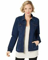 Denim & Co. Womens Comfy Knit Denim Zip-Front Jean Jacket S Dark Indigo A349249