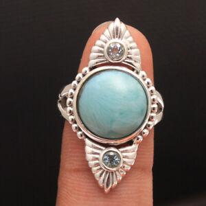 LARIMAR BLUE TOPAZ Gemstone Fine HANDMADE Jewelry Sterling Silver Ring Size 6