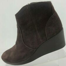 Crocs Wedge Boots Leigh Synthetic Zip Brown Suede Ankle Booties Womens US 9