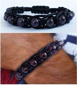 Men's Jewellery Beaded Gemstone Bracelet Shamballa Madmax style Dark Amethyst
