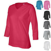 LAT Ladies' V-Neck Womens T Shirt with Three-Quarter Sleeves 3577