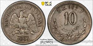 Mexico 10 Centavos 1896 EF40 PCGS KM# 403.10 Z_Z Error Only 1 POP 1/0 RARE!