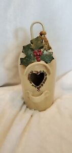 """Bird House handcrafted ceramic hanging house signed 10"""" tall heart with holly"""