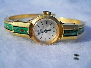 Bucherer small Women or Child Cuff Watch 1034/61, green Enamel 10K Gold plated