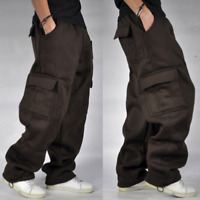 Mens's Oversize Loose Cargo Baggy Pants Hip Hop  Athletic Casual Long Trousers